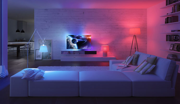 9 gorgeous philips hue light set ups hue home lighting philips hue lounge aloadofball Gallery