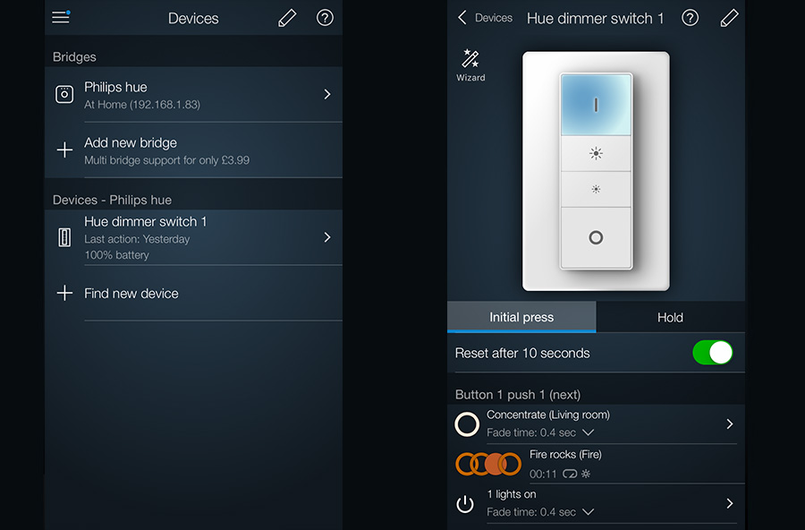 Editing dimmer switch hue