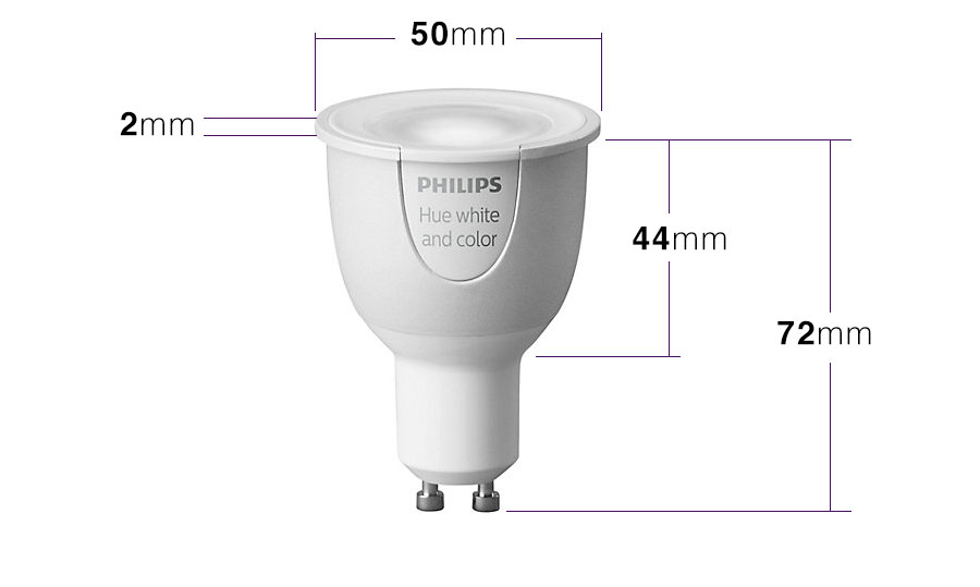 philips hue gu10 color and white dimensions